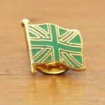 Marcel O'Connor Green Union Jack pin, front