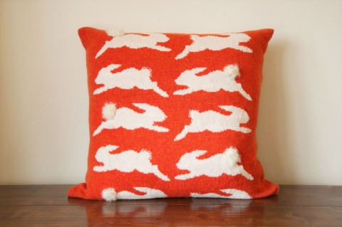 Orange Bunny Cushion by Nervous Stitch