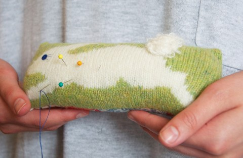 Green bunny pincushion by Nervous Stitch