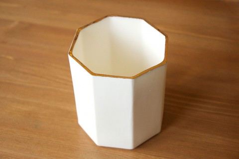 Gold Luster Ceramic Octagonal Pot by Beth Lamont