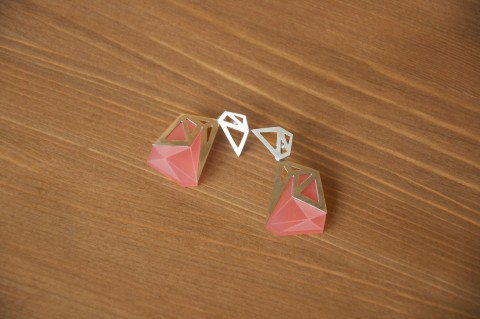 Frosted Pink Triangle Earrings by Anaïs Paulard