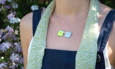 Rebecca E Smith, lime & pale grey enamel necklace