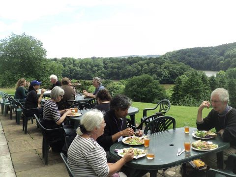 Lunch outside, Sharpham, Devon; photo Jan van Boeckel