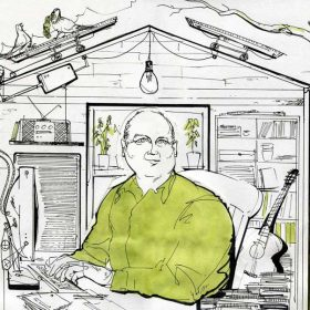 Alan Vest illustration of Louis de Bernières
