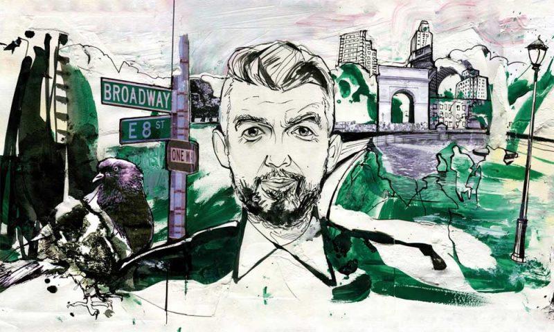 Illustration of Nick Laird by Alan Vest