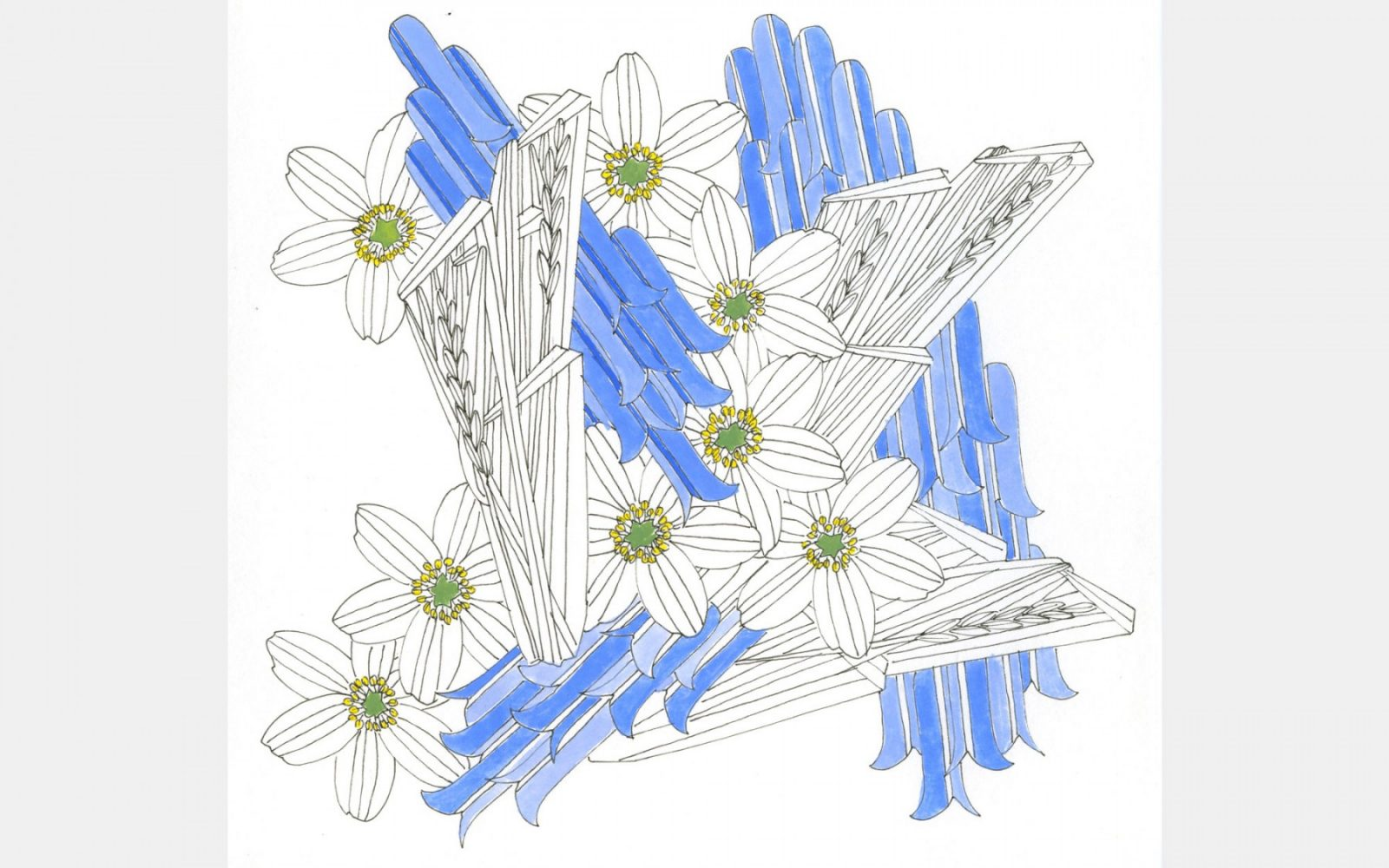 Frances Priest, final design - Woodland (gouache & pen on paper)