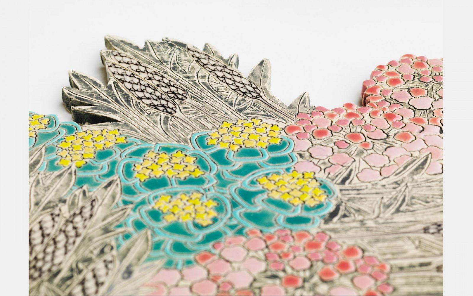 Frances Priest, detail of ceramic tile (Coast); photo Shannon Tofts