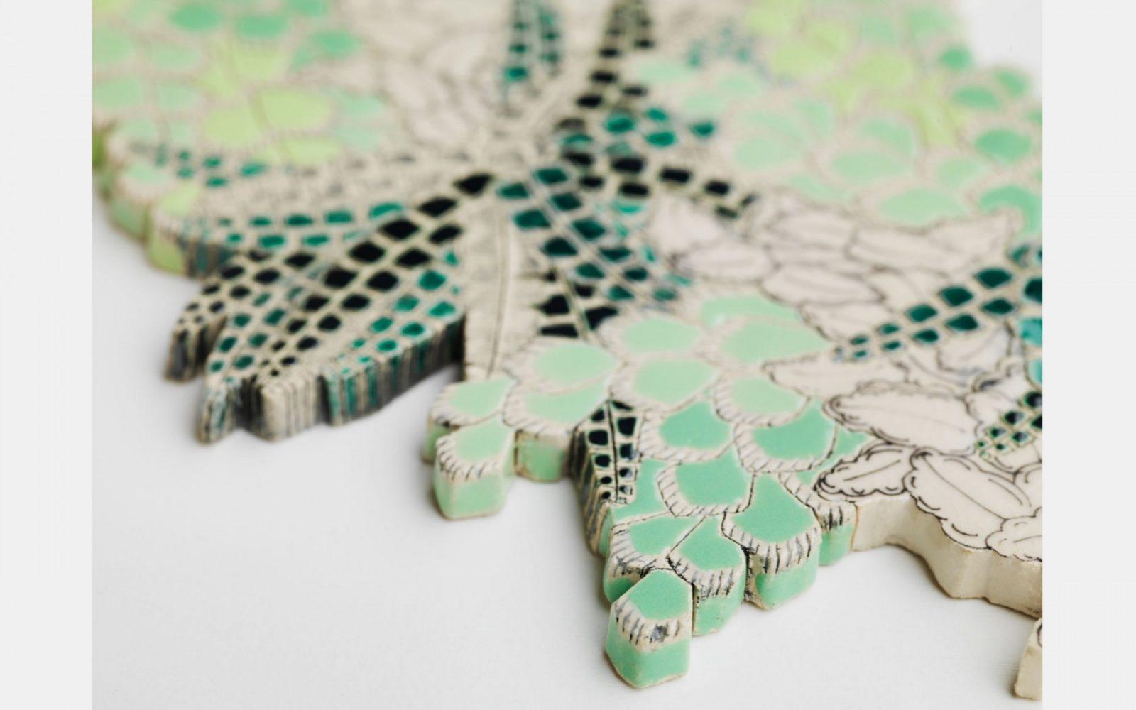 Frances Priest, detail of ceramic tile (Limestone); photo Shannon Tofts