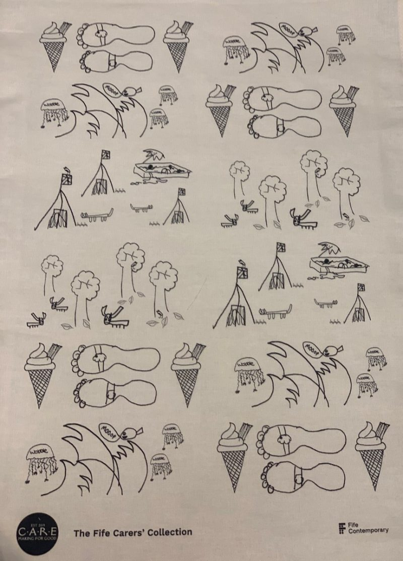 Tea Towel with Illustrations