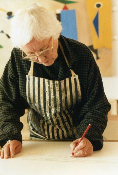 Wilhelmina Barns-Graham in her St Ives studio working on Eight Lines, photo David Crane
