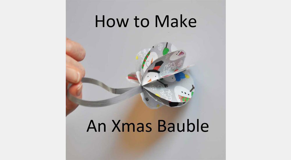 How to make an xmas bauble - image of finished one, made from paper