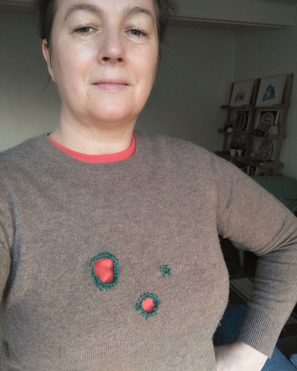 Nicola Atkinson wearing her repaired cashmere sweater