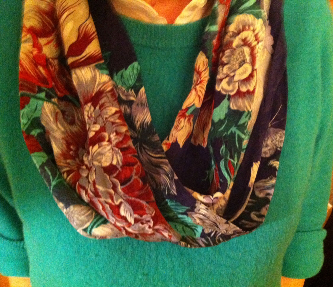 Mandy Macdonald wearing a 'Moebius scarf, transformed from an old silk square