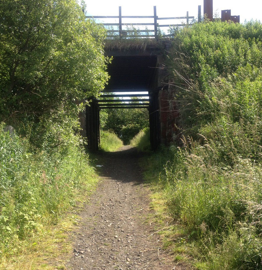 Path leading underneath a railway bridge, Robert Duncan